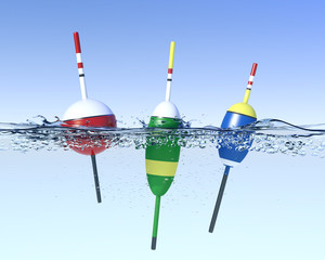 Fishing bobbers on water surface