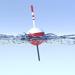 Fishing bobber on water surface