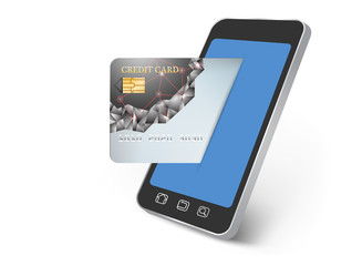 Paying on smartphone technology background