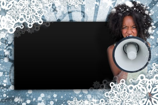 Girl with afro shouting through megaphone with copy space