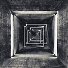 Abstract square dark concrete tunnel interior, 3d background