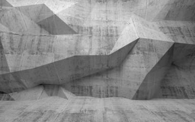 Beton 3d ściana z efektem trójwymiaru z betonowych elementów o nieregularnych kształtach
