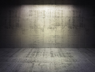 Abstract dark concrete 3d interior with spot light on the wall