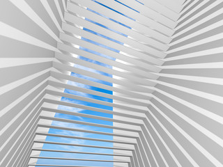 Abstract white 3d interior background with shadows pattern