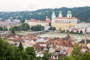 View over Passau and the River Inn