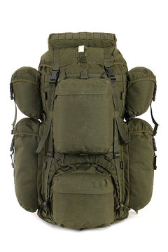 Military backpack isolated on white.