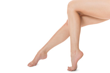 Elegant long bare female legs