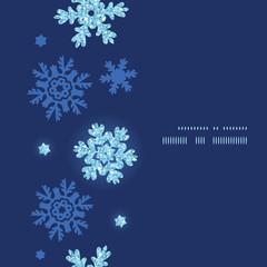 Vector glitter snowflakes dark vertical frame seamless pattern