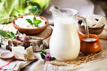 rustic dairy products still life