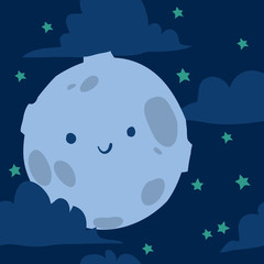 Funny moon with tiny stars seamless background.