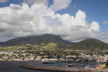 Island volcano and clouds. Saint Kitts and Nevis