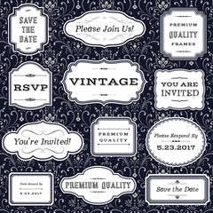 Vintage Frames on Damask Background