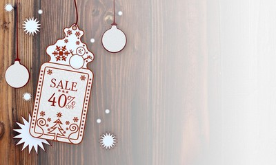 xmas coupon with Christmas sale 40 percent off label