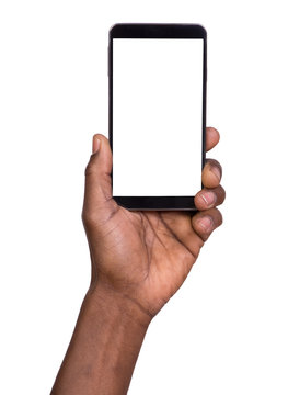 Man holding smart phone with blank screen
