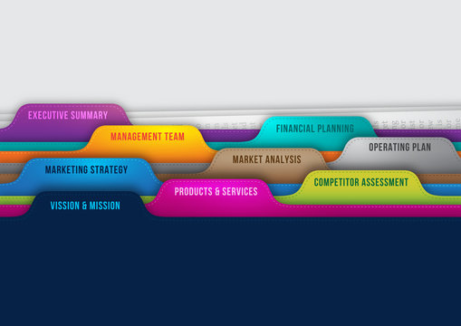 Business Plan Elements In Colorful Folder