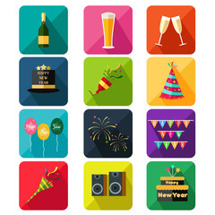 New Year party icons