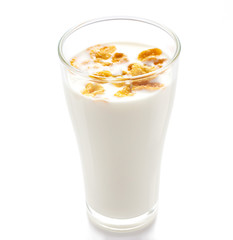 Milk and cornflake on white background