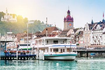 Harbour and buildings in city center in Lucerne, Switzerland