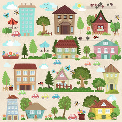 Collection a cute houses and trees for you design