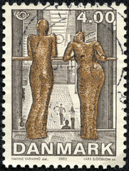 stamp shows Contemporary Art - 'The girls in the Airport'