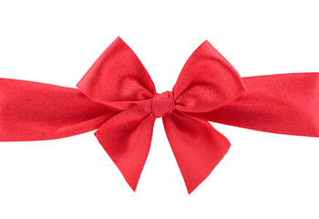 Closeup red ribbon bow isolated on white background
