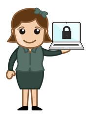 Secure Computer - Cartoon Vector