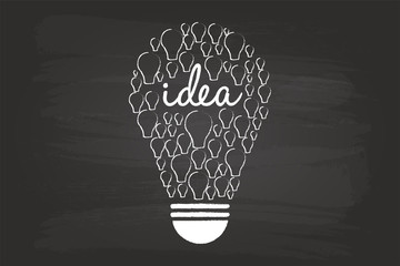 Idea Light Bulb Concept On Blackboard