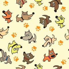 Cute dog seamless background