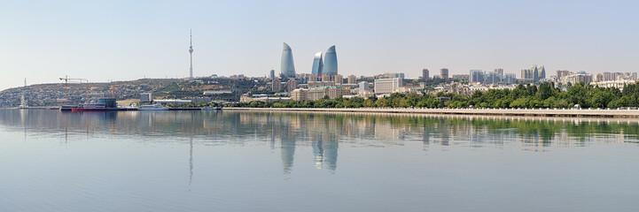Panorama of Baku from Caspian Sea, Azerbaijan