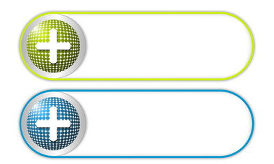 two vector buttons with grid and plus symbol