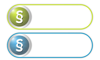 two vector buttons with grid and paragraph