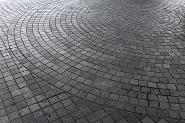 stone block floor of pavement on city street Wall mural