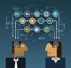 Business people with social network communication