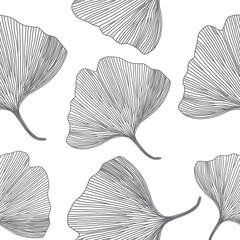 Ginkgo biloba leaves, line design, seamless pattern