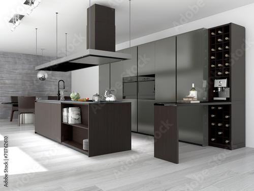 moderne k che mit weinschrank stockfotos und lizenzfreie bilder auf bild 70762610. Black Bedroom Furniture Sets. Home Design Ideas