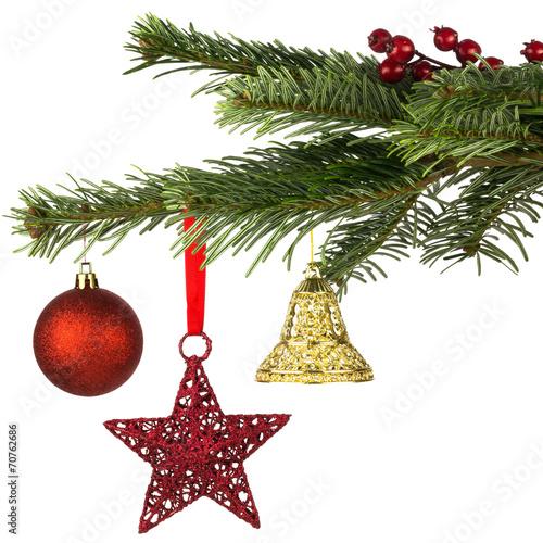 weihnachtlich geschm ckter tannenzweig stockfotos und lizenzfreie bilder auf. Black Bedroom Furniture Sets. Home Design Ideas