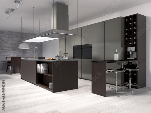 moderne k che mit weinregal stockfotos und lizenzfreie. Black Bedroom Furniture Sets. Home Design Ideas