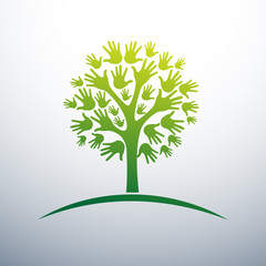hand forming a tree eco concept  vector illustration