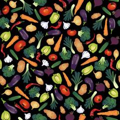 seamless vegetables black background