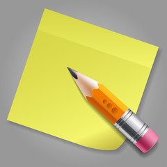 Orange pencil and yellow sticker reminder page