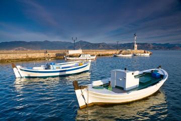 Morning scenery in Nafplio harbour, Greece.