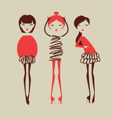 fashion girls posingvector illustration