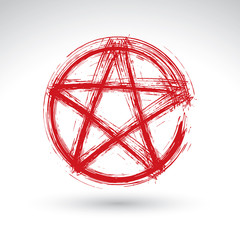 Hand drawn pentagram icon scanned and vectorized, brush drawing