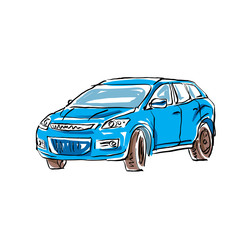 Colored hand drawn car on white background, illustration of a ha