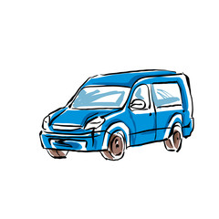 Colored hand drawn car on white background, illustrated minivan.