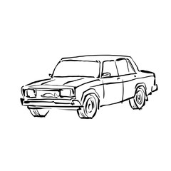 Monochrome hand drawn car on white background, black and white i