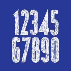 Stylish vector digits, handwritten numerals.