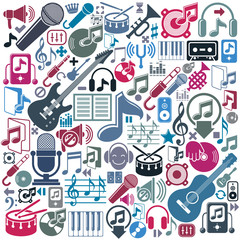 Set of musical elements, vector colorful isolated musical icons.