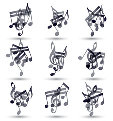 Black musical notes and symbols isolated on white background, ve