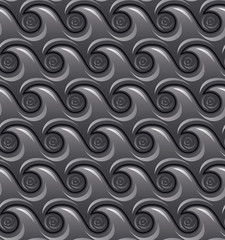 Monochromatic decorative abstract rounded waterwaves with curls,